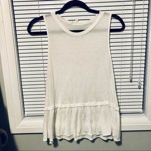Aritzia Wilfred Sleeveless White Peplum Shirt